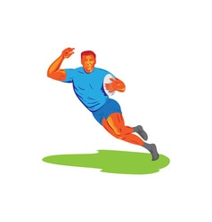 Rugby player running ball wpa vector