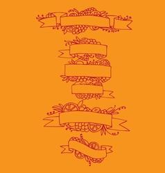 Set of doodle ornate fruit ribbons vector