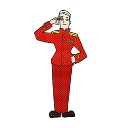 Comic cartoon military man in dress uniform vector