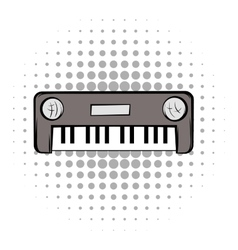 Synthesizer grey comics icon vector