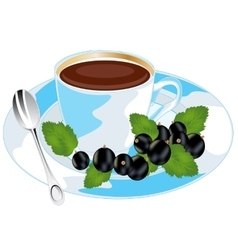 Tea with currant vector