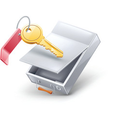 Safety deposit box with key vector