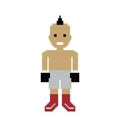 Pixel people boxer avatar vector