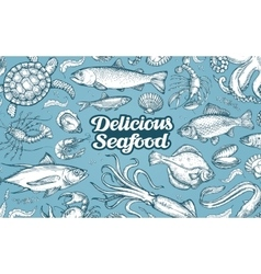 Hand drawn sketch seafood vector