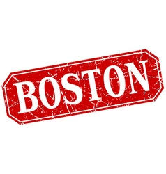 Boston red square grunge retro style sign vector
