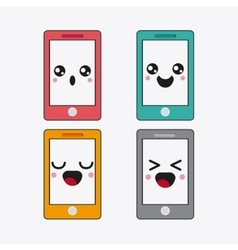 Smartphone icon kawaii and technology vector