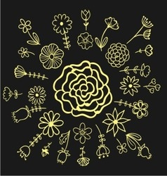 Handdrawn flower ornament pack vector