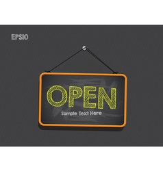 Blackboard sign open background vector