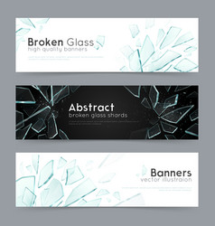 Broken glass 3 decorative banners vector