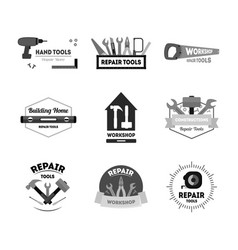 cartoon silhouette black hand tools badges or vector image vector image