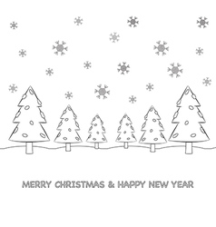 Christmas tree cartoon and snow vector image