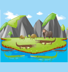 crocodiles and other animals on island vector image
