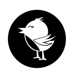 Cute bird silhouette icon vector