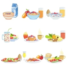 Different Breakfast Food And Drink Sets vector image