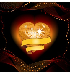 disco heart shield vector image vector image