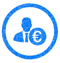 Euro banker rounded icon rubber stamp vector