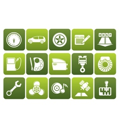 Flat car parts services and characteristics icons vector
