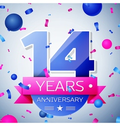 Fourteen years anniversary celebration on grey vector image vector image