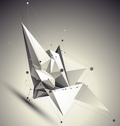 Geometric black and white polygonal structure with vector