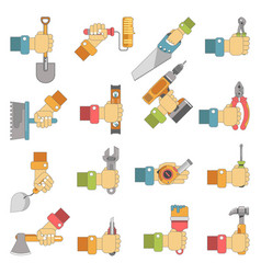 hands holding repair carpentry work tools vector image vector image