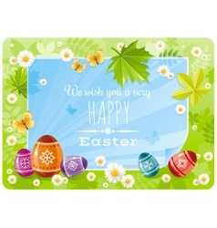Happy easter banner border spring frame green vector