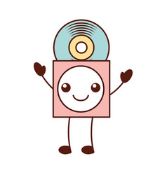kawaii music cover with vinyl record in paper case vector image