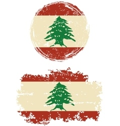 Lebanese round and square grunge flags vector