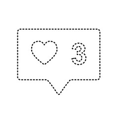 Like and comment sign black dashed icon vector