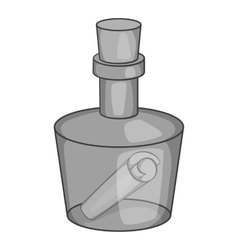 Message in a bottle icon black monochrome style vector