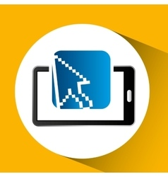 mobile phone icon cursor social media vector image