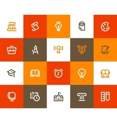 School and education icons Flat style vector image