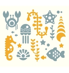 Sea Inhabitants and Plants Set vector image vector image