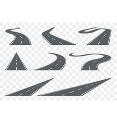 set of curved asphalt road in perspective highway vector image
