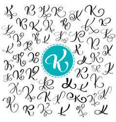 set of hand drawn calligraphy letter k vector image vector image