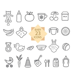 Set of line icons toys food eat crockery vector