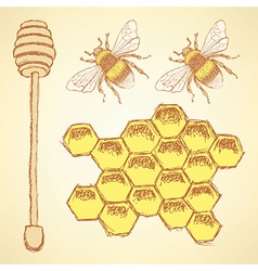 Sketch honey cells stick and bee in vintage style vector