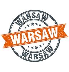 Warsaw red round grunge vintage ribbon stamp vector