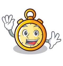 Waving chronometer character cartoon style vector