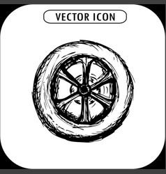 wheel hand drawing vector image
