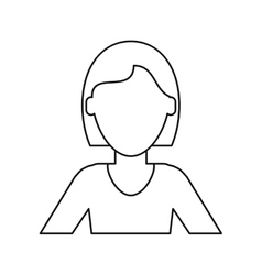 Woman short hair ethnicity thin line vector