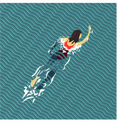 woman swim swimming pool top view flat style vector image