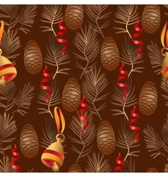 Xmas seamless pattern include bell pine vector