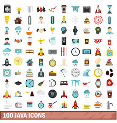 100 java icons set flat style vector