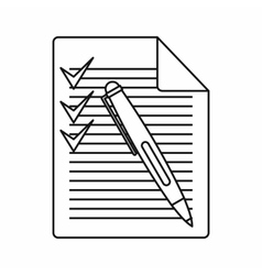 Document with plan and pen icon outline style vector