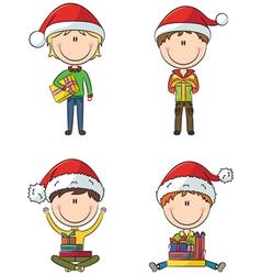 Happy Santa boys vector image