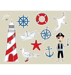 Funny nautical set vector