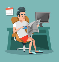Cartoon businessman reading newspaper with coffee vector