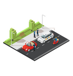 Colorful isometric traffic concept vector