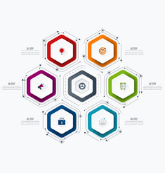 Infographics template 6 options with hexagon vector