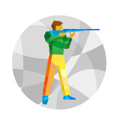 Rifle shooter on gray background with patterns vector